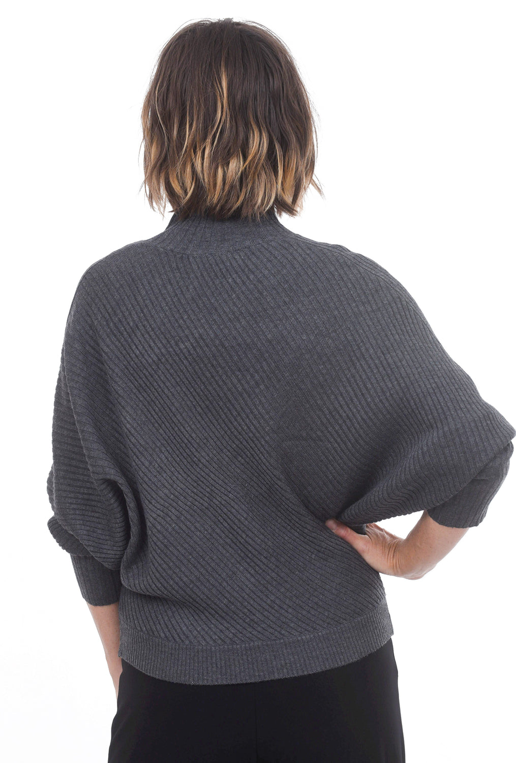 Mystree Ribbed Detail Dolman Sweater, Charcoal