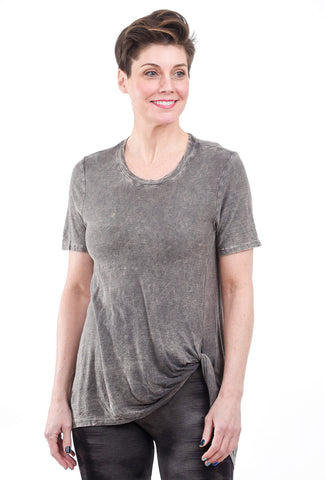 M. Rena Mineral Wash Twisted Top, Smoke Gray