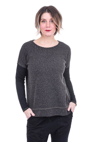 Mystree High-Low Pullover, Charcoal