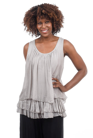 Oro Bonito Ruffle-Bottom Silky Tank, Taupe One Size Taupe