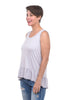 Sinuous Ruffle-Trim Tank, Gray