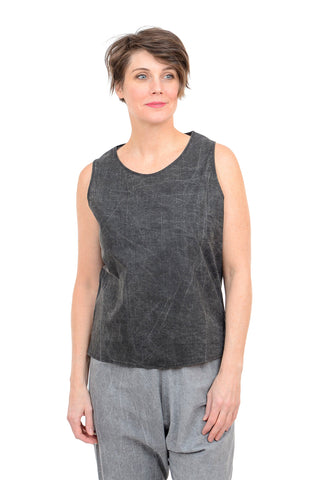 Uzi NYC Woven Cotton Tank, Black Acid