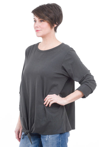 Oro Bonito Knot Hem Detail Top, Charcoal One Size Charcoal
