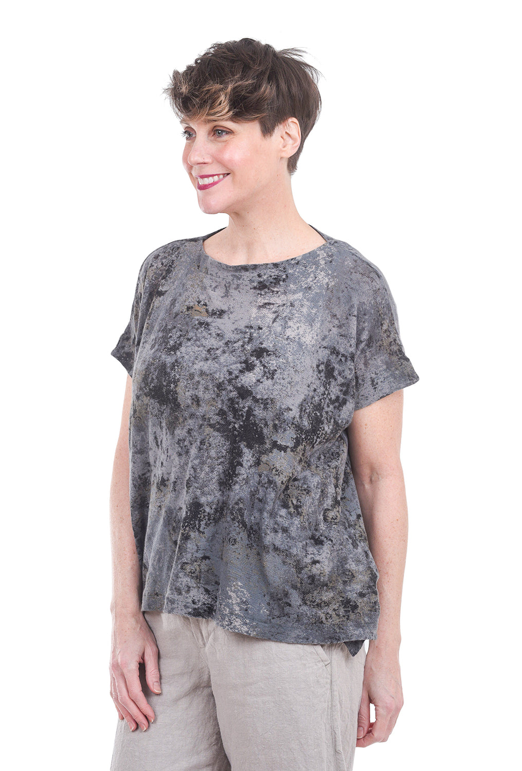 Pas De Calais Impressionism Knit Top, Gray/Gold