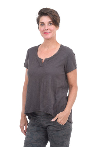 Wilt Shrunken Placket Tee, Dark Shadow Gray