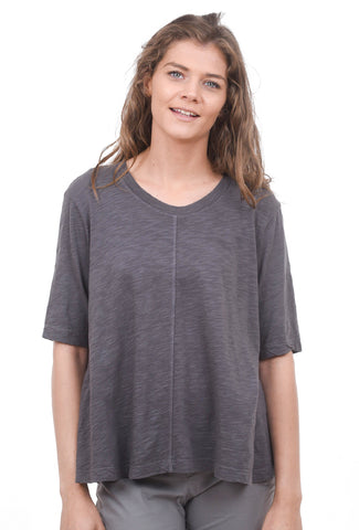 Wilt Elbow-Sleeve Trapeze Tee, Shadow Gray