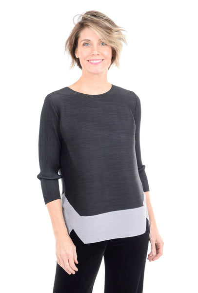 Veeca Two-Tone Bouncy Blouse, Black/Gray
