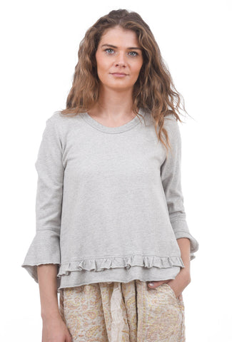 Wilt Ruffle Crewneck Flutter Sleeve, Grey Heather