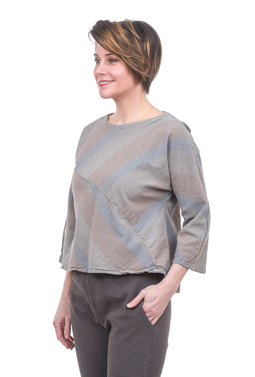 Cynthia Ashby Swale Linen Top, Gray