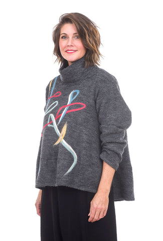 Ji-U Scribble Strands Sweater, Gray