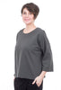 Oro Bonito Fleece Seamed Back Top, Charcoal One Size Charcoal