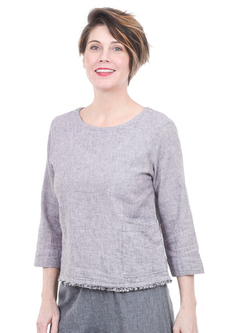Cut Loose Crosshatch 3/4-Sleeve Top, Blossom Pink