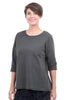 Oro Bonito Fleece Zip-Back Top, Charcoal One Size Charcoal