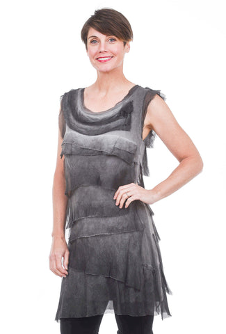 Tattered Tiers Short Dress, Charcoal