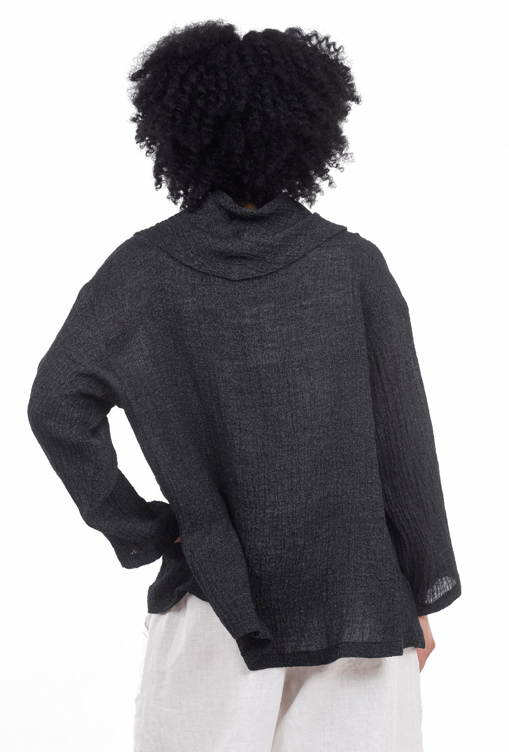 M Square Linen Crop Cowl Top, Night One Size