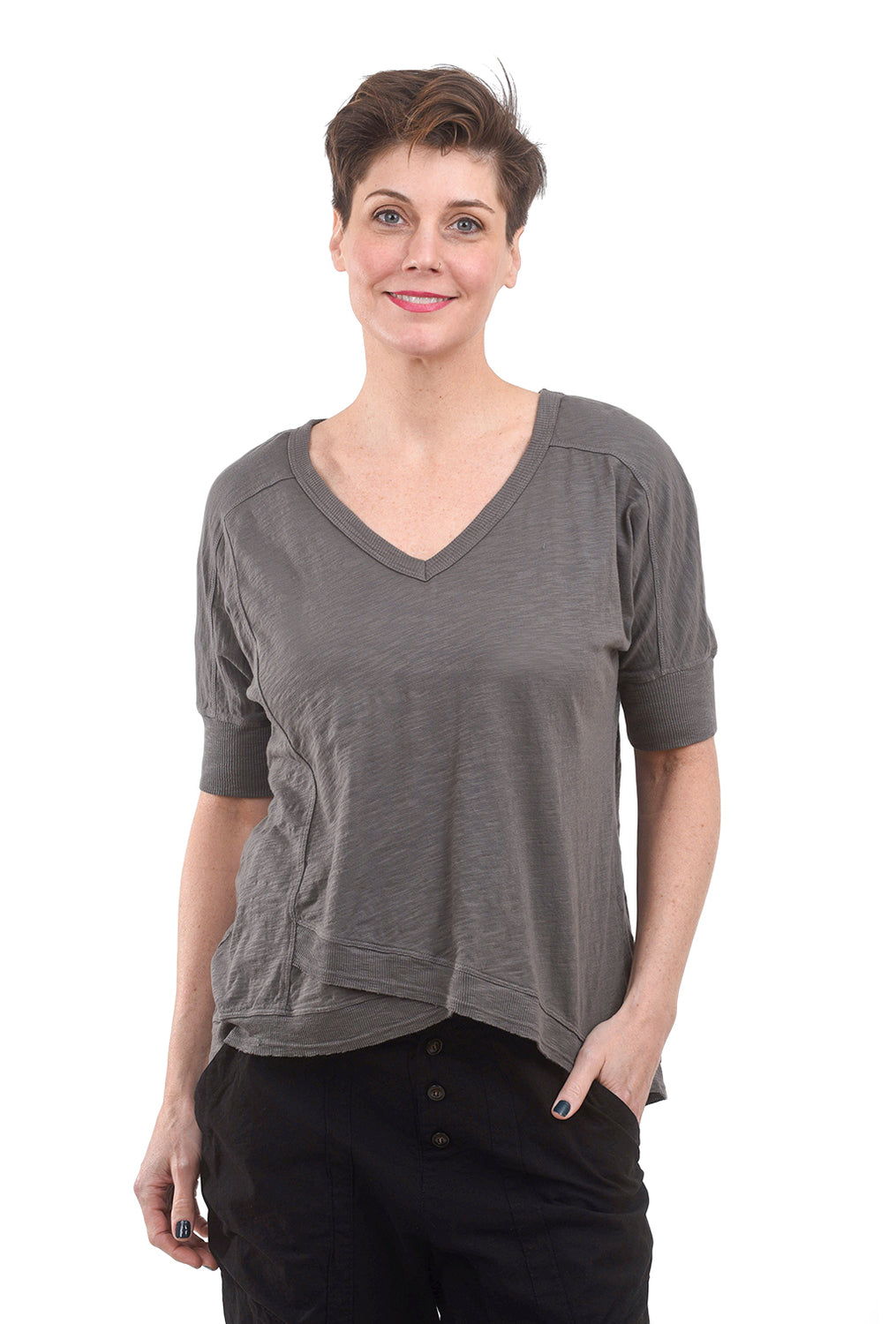 Wilt Deep V Elbow Mock Hem Tee, Washed Black