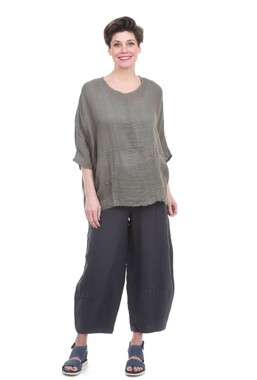 Stark x Relaxed Linen Top, Army Green