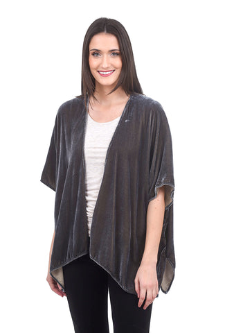 Cut Loose Velvet Shawl Cardie, Overcast Gray One Size Gray
