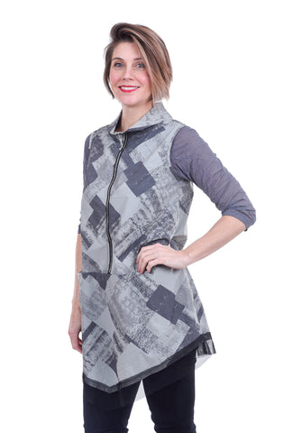 Jason by Comfy USA Print Casablanca Vest/Tunic, Gray Blocks