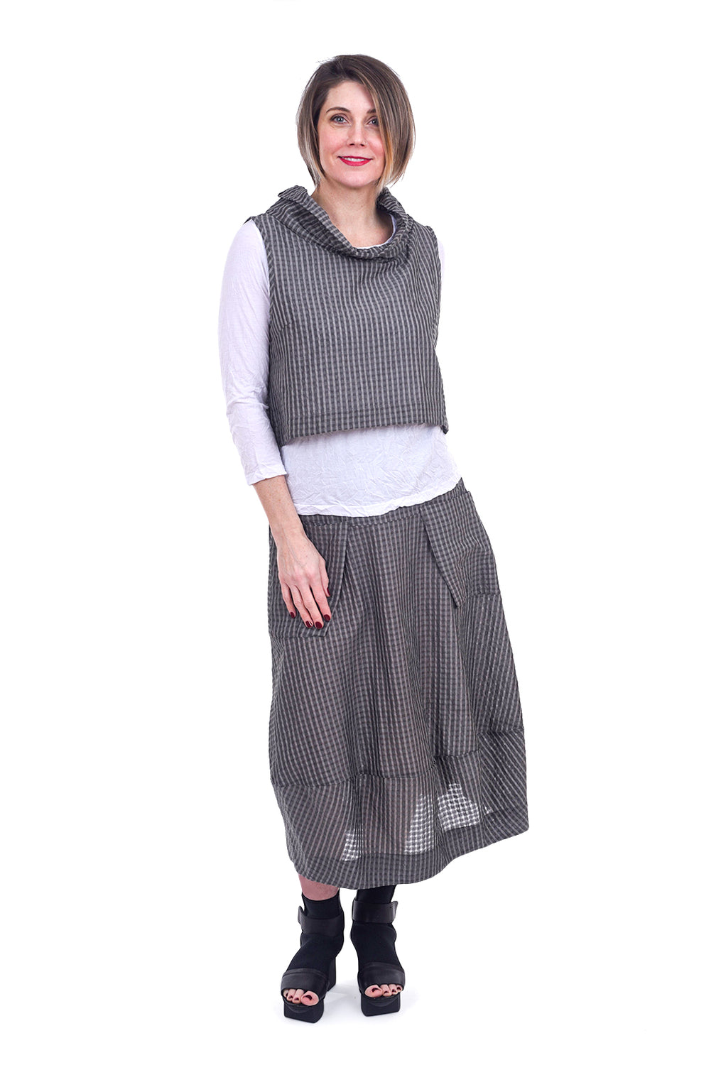Jason by Comfy USA Sandy Skirt, Gray Multi