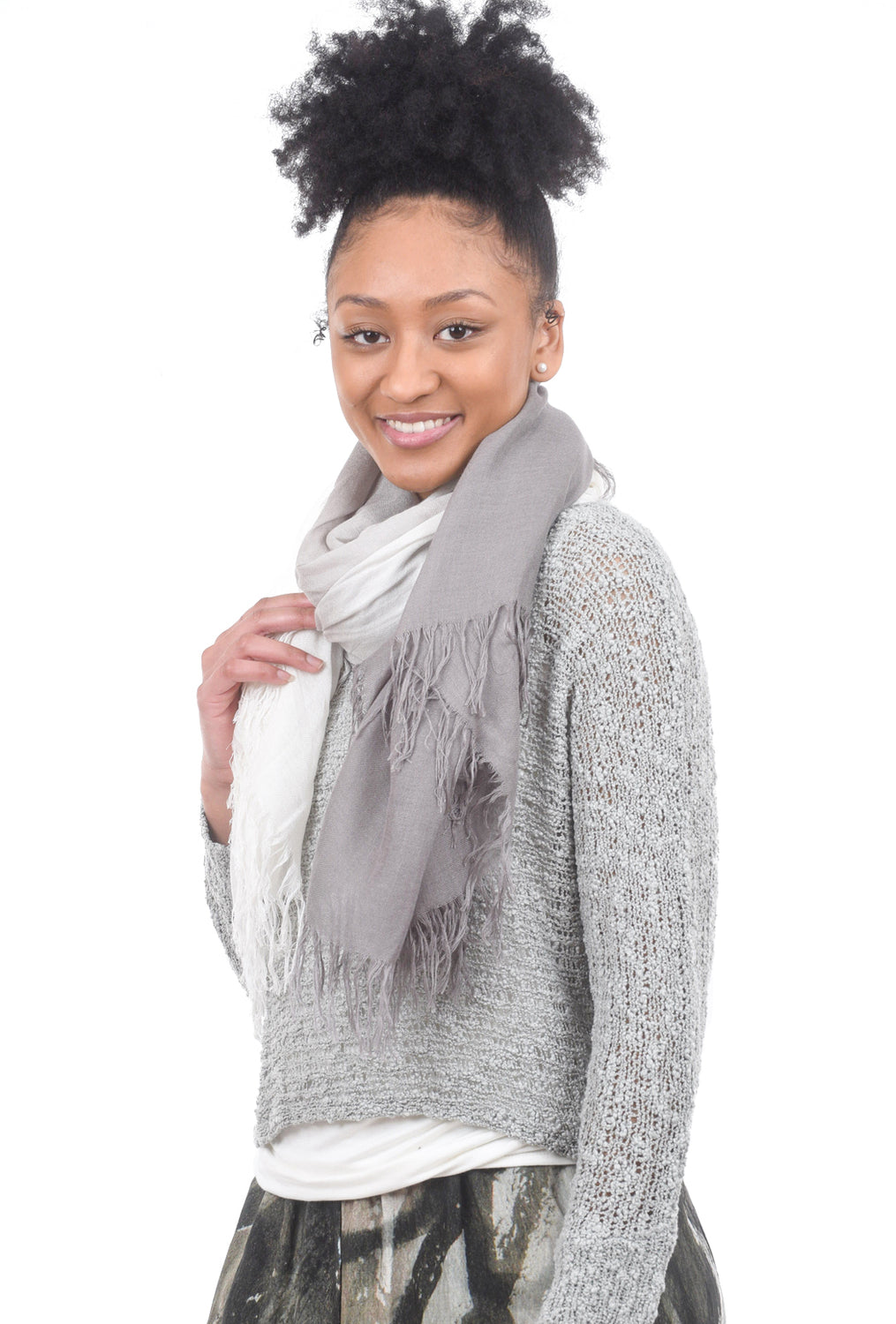 Blue Pacific Tissue Solid Combo Scarf, Beachwood/Sand