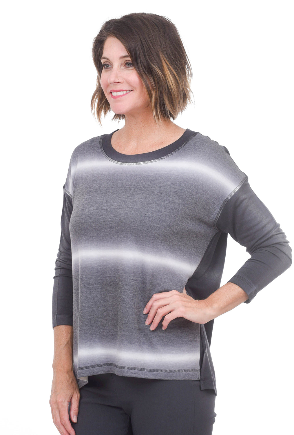 Nally & Millie Black Ombre Stripe Top, Gray