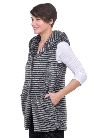 Capote Lola Hooded Vest, Charcoal