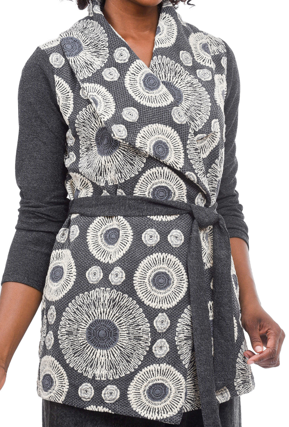 Mystree Crochet Details Jacket, Gray/Cream
