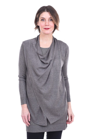 M. Rena Asymmetric Drape Panel Sweater, Dust