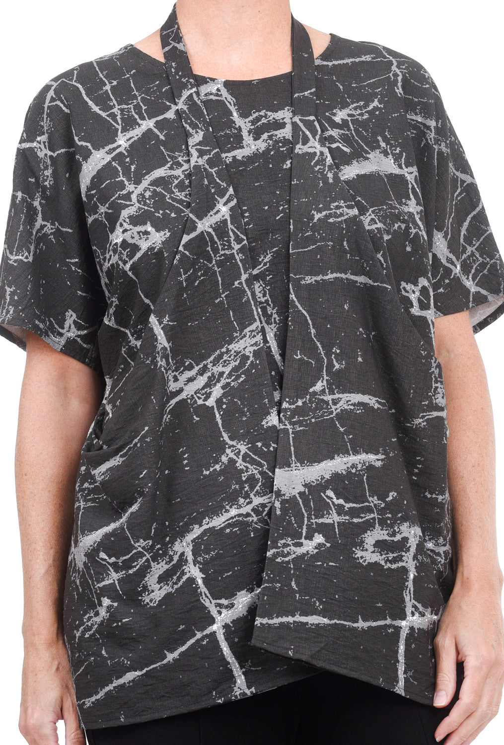 Niche Rayon Origami Blouse, Black Marble