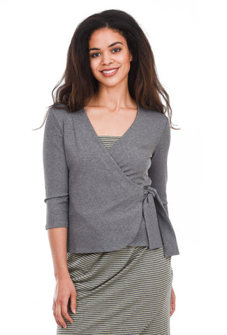 Sarah Liller Leila Wrap Top, Granite Gray