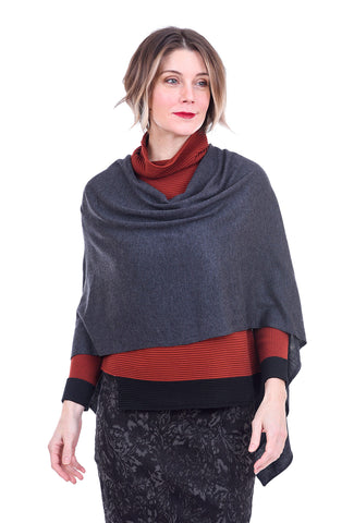 Kerisma Knits Eden Poncho, Dark Charcoal One Size Charcoal