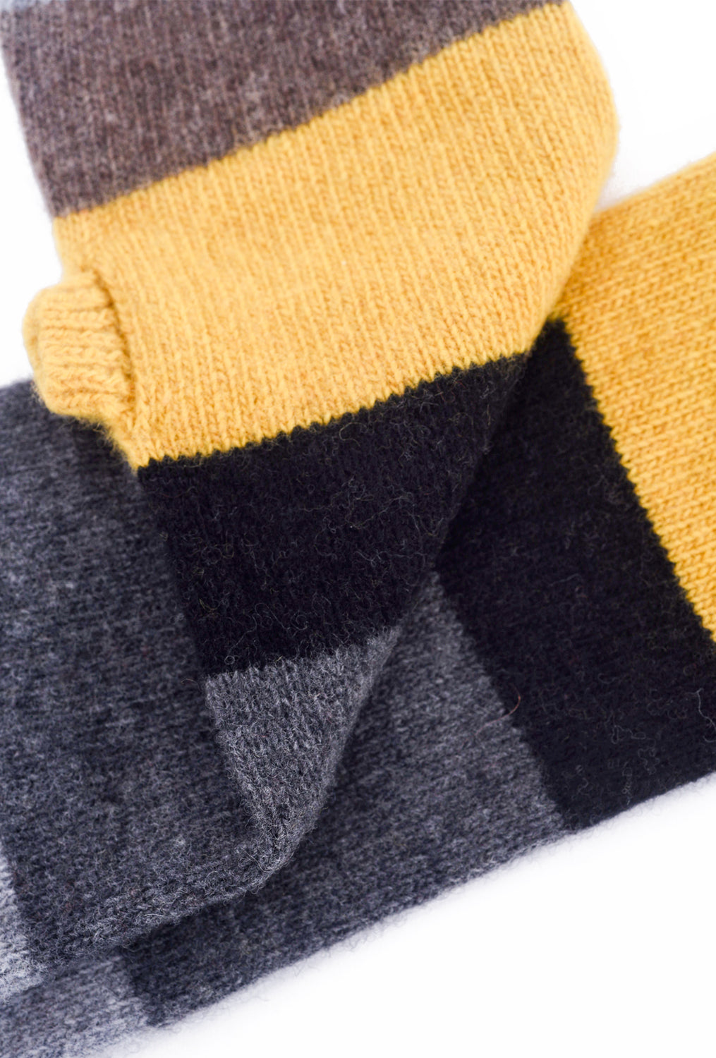 Santacana Madrid Fingerless Long Cashmere Gloves, Gray/Yellow One Size Gray