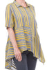 M Square Asymmetric Stripey Shirt, Gray/Mustard
