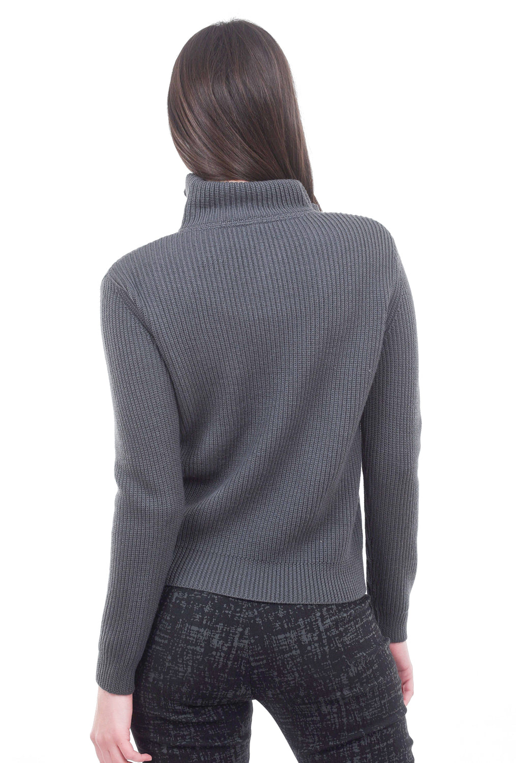 Margaret O'Leary Knits Annice Moto Jacket, Anthracite Gray