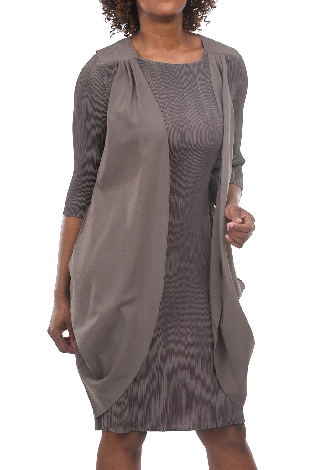 Alquema Topper Micropleat Dress, Mocha One Size Mocha