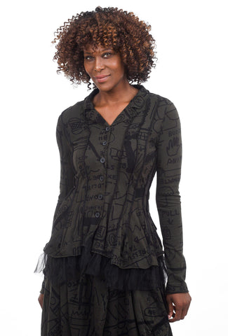 Rundholz Black Label Tulle Trim Jersey Jacket, Dark Olive Print