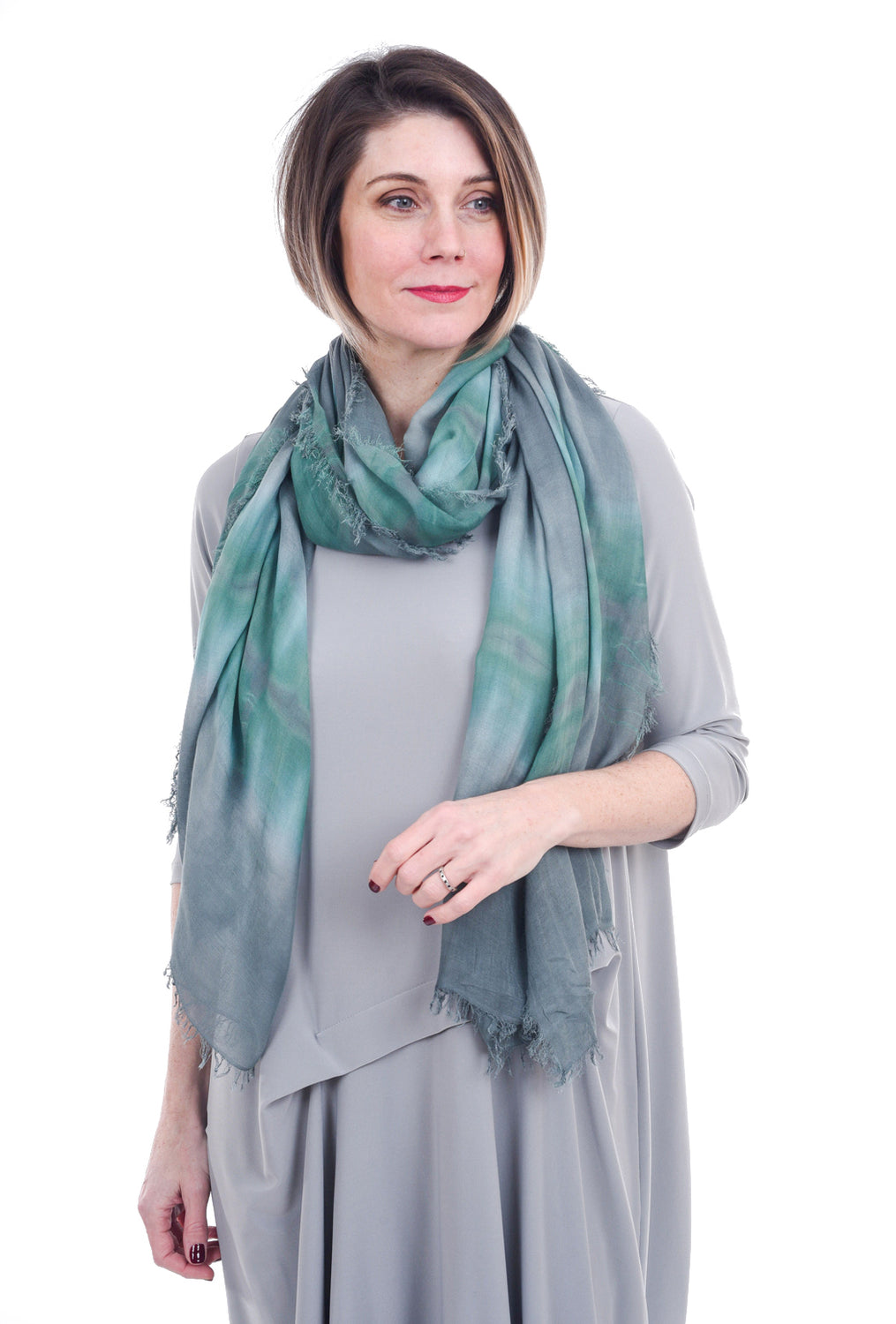 Blue Pacific Horizontal Tie-Dye Scarf, Gray One Size Gray