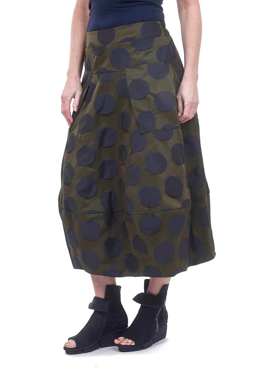 Sun Kim Midtown Skirt, Olive/Navy Dot