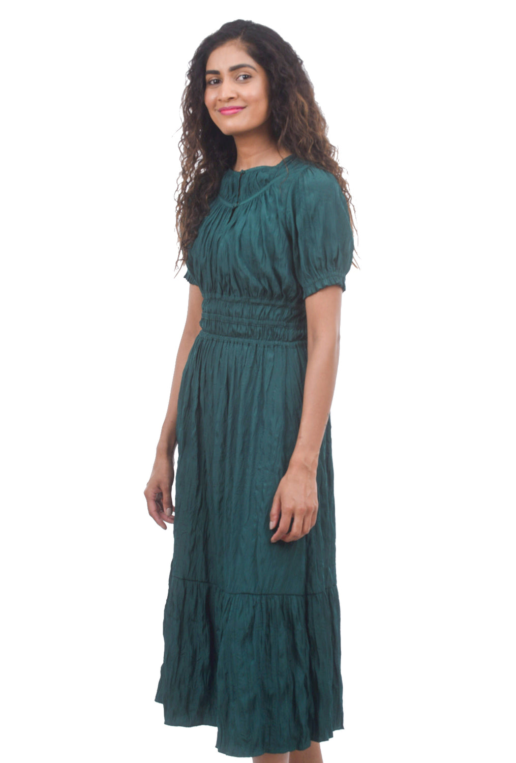 Current Air Crinkled S/S Midi Dress, Emerald