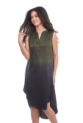 Acrobat High-Low Dip-Dye Dress, Green