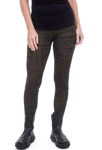 Rundholz Black Label RBL Jersey Print Leggings, Dark Olive Print