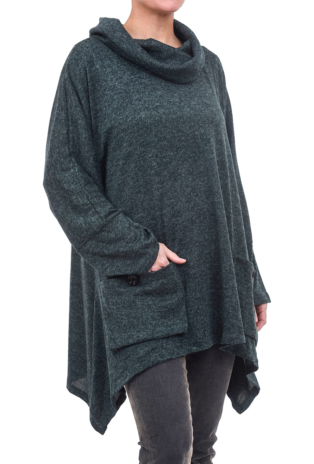 Transparente Clothing Marled Dolman Pocket Top, Pine Green One Size Green