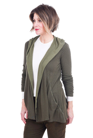 Cut Loose Tonal Dot Hooded Cardie, Gator Green