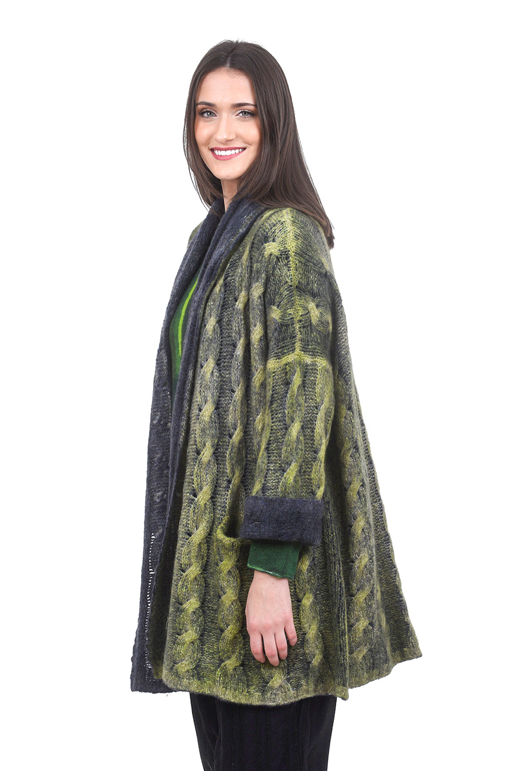 F Cashmere Splendid Cable Cashmere Cardie, Lime/Indigo Medium Lime