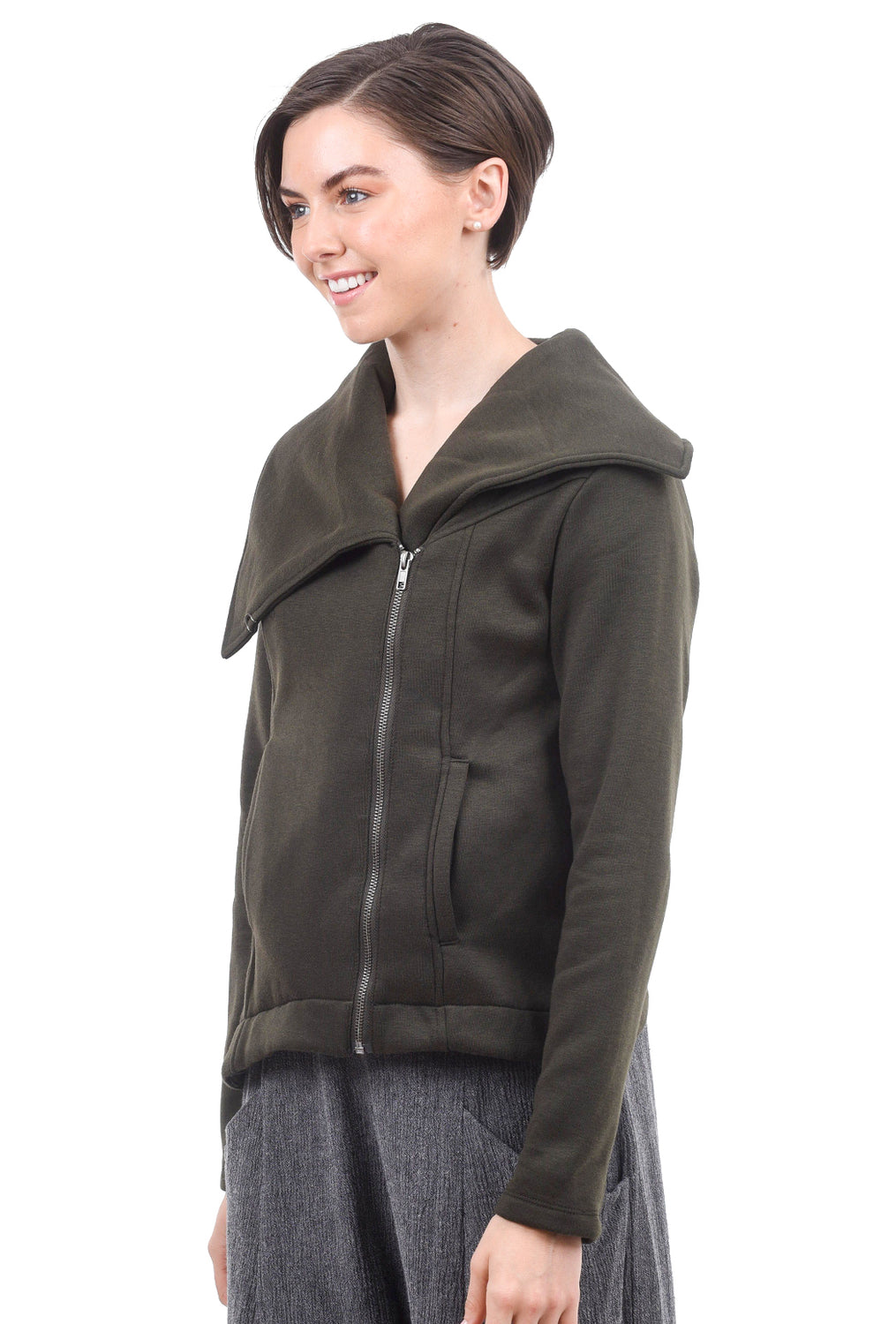Hem & Thread Asymmetric Zip FT Jacket, Olive