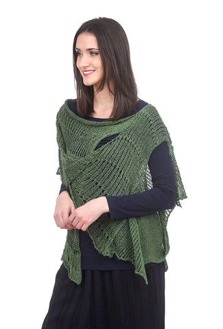 B&K Moda Drape Neck Vesty Topper, Moss Green One Size Green