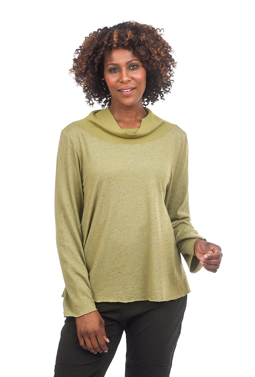 Cynthia Ashby Mockneck Speckle Top, Moss