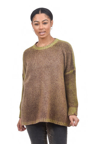F Cashmere Boxy Cashmere Pullover, Lime/Plum