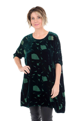 Grizas Velvet Burnout Tunic, Pine Green
